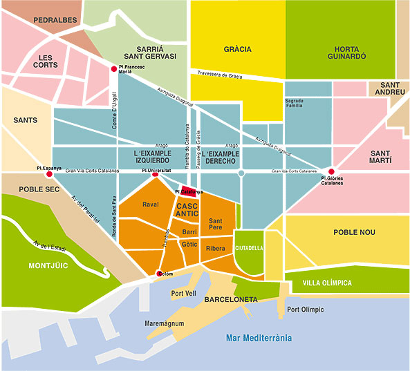 barcelona map barrios districts ayearinbarcelona