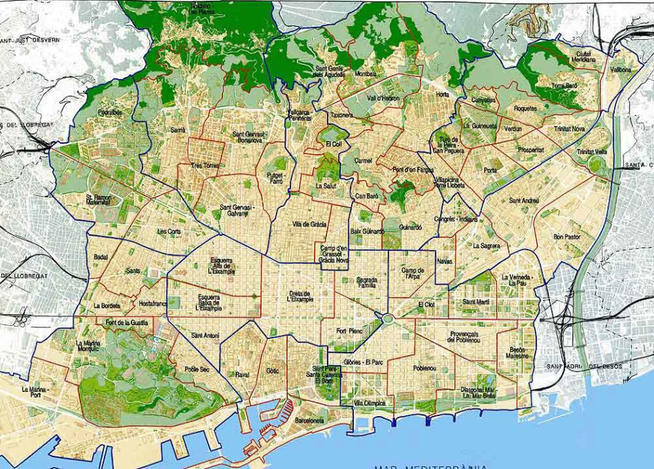 barcelona map barrios districts